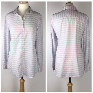 J. Mclaughlin Textured Striped Button Down Shirt
